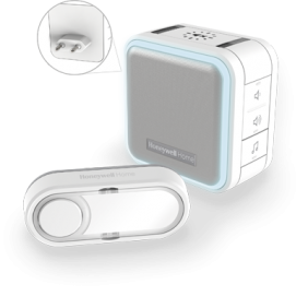Campainha sem fios com ficha plug-in, modo de suspensão, luz de presença e botão – Branco