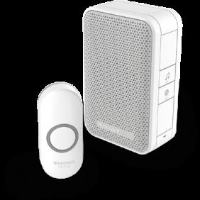 Trådløs, bærbar dørklokke med trykknap – Hvid