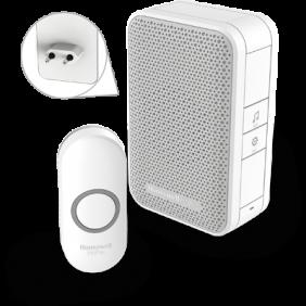 Langaton pistorasiaan kytkettävä painikkeellinen ovikello – Valkoinen