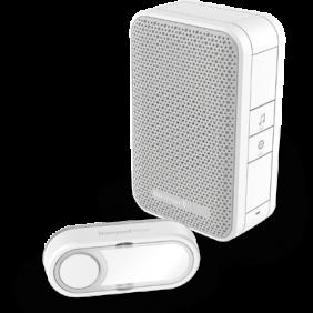Timbre inalámbrico portátil con pulsador – Blanco
