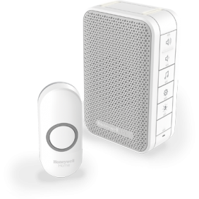 Wireless portable doorbell with volume control and push button – White