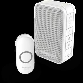 Trådløs, bærbar dørklokke med volumenkontrol og trykknap – Hvid