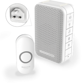 Wireless plug-in doorbell with volume control and push button – White