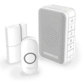 Trådløs,  bærbar  dørklokke  med  volumenkontrol,  dørsensor  og  trykknap  –  Hvid