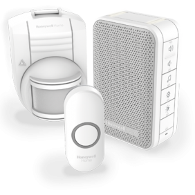 Trådløs,  bærbar  dørklokke  med  volumenkontrol,  trådløs  bevægelsessensor  og  trykknap  –  Hvid