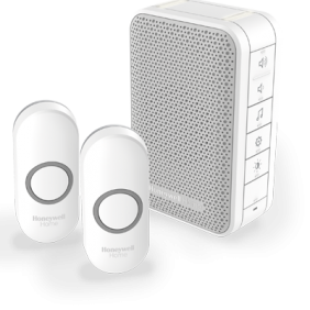 Wireless portable doorbell with volume control and two push buttons – White