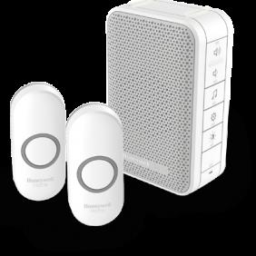 Trådløs, bærbar dørklokke med volumenkontrol og to trykknapper – Hvid