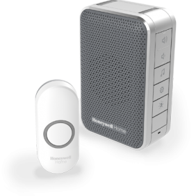 Wireless portable doorbell with volume control and push button – Grey