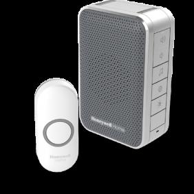 Trådløs, bærbar dørklokke med volumenkontrol og trykknap – Grå