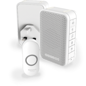 Wireless portable and plug-in doorbell with volume control and push button – White