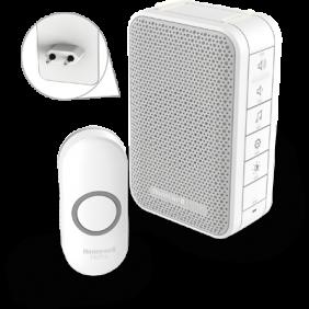 Langaton pistorasiaan kytkettävä ovikello, jossa on äänenvoimakkuuden säätö ja painike – Valkoinen