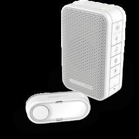 Campainha portátil sem fios com controlo de volume e botão – Branco