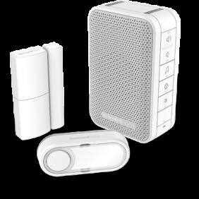 Kit carillon sans fil comprenant un carillon mobile avec commande de volume, détecteur d'ouverture de porte et un bouton poussoir – Blanc