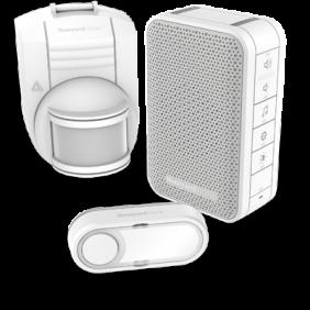 Kit carillon sans fil comprenant un carillon mobile avec commande de volume, un détecteur sans fil de mouvement et un bouton poussoir – Blanc