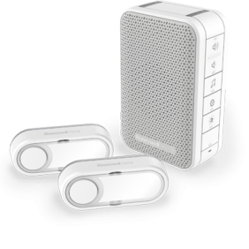 Kit carillon sans fil comprenant un carillon mobile avec commande de volume et deux boutons poussoirs – Blanc