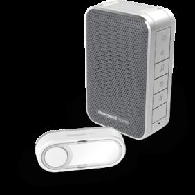 Campainha portátil sem fios com controlo de volume e botão – Cinzento
