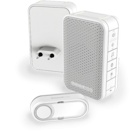 Timbre inalámbrico portátil y enchufable con control del volumen y pulsador – Blanco