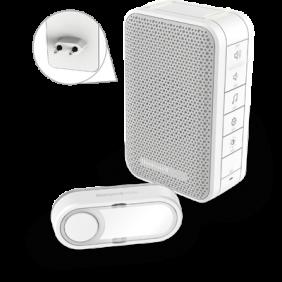 Bezprzewodowy dzwonek do drzwi zasilany z gniazdka z kontrolą głośności i z przyciskiem – biały