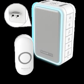Langaton pistorasiaan kytkettävä ovikello, jossa on kehävalo, USB-latausliitäntä ja painike – Valkoinen