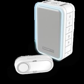 Kit carillon sans fil comprenant un carillon mobile avec halo lumineux et un bouton poussoir – Blanc