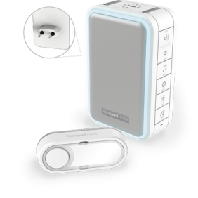Campanello senza fili plug-in con indicatore Halo, ricarica tramite USB e pulsante – Bianco