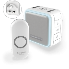 Wireless plug-in doorbell with sleep mode, nightlight and push button – White