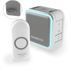 Wireless plug-in doorbell with sleep mode, nightlight and push button – Grey