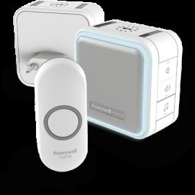Trådlös portabel samt plug-in-dörrklocka med viloläge, nattbelysning och tryckknapp – Vit