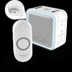Trådlös plug-in-dörrklocka med viloläge, nattbelysning och tryckknapp – Vit