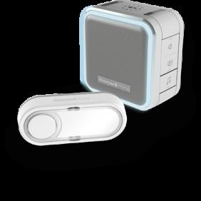 Campainha portátil sem fios com luz halo, modo de suspensão e botão – Cinzento