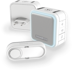 Kit Campainha portátil sem fios e campainha plug-in, com modo de suspensão, luz de presença e botão – Branco