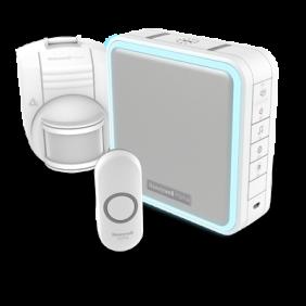 Trådløs, bærbar dørklokke med forlænger til rækkevidde, trådløs bevægelsessensor og trykknap – Hvid