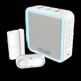 Kit carillon sans fil comprenant un carillon mobile avec extension de portée, détecteur d'ouverture de porte et bouton poussoir – Blanc