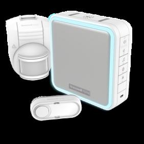 Campainha portátil sem fios com extensor de alcance, sensor de movimentos sem fios e botão – Branco