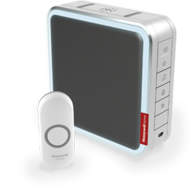 Wireless portable doorbell with range extender, customisable melodies and push button – Grey