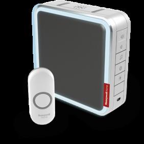 Trådlös portabel dörrklocka med räckviddsförlängare, anpassningsbara melodier och tryckknapp – Grå
