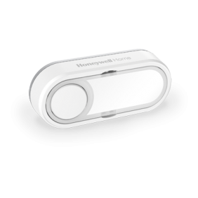 Wireless push button with nameplate and LED confidence light – Offset Landscape, White