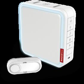 Timbre inalámbrico portátil con amplificador de alcance, melodías personalizables y pulsador – Blanco