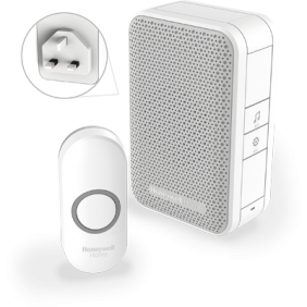 Wireless plug-in doorbell with push button – White