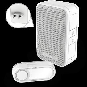 Bezprzewodowy dzwonek do drzwi zasilany z gniazdka z przyciskiem – biały