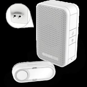 Timbre inalámbrico enchufable con puerto de carga USB y pulsador – Blanco