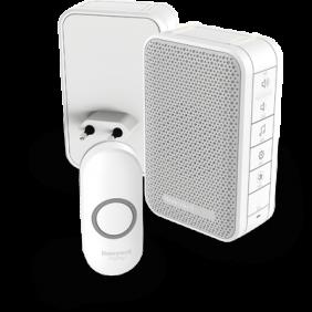 Langaton, kannettava, pistorasiaan kytkettävä ovikello, jossa on äänenvoimakkuuden säätö ja painike – Valkoinen