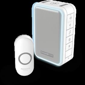 Trådløs, bærbar dørklokke med halo-lys og trykknap – Hvid