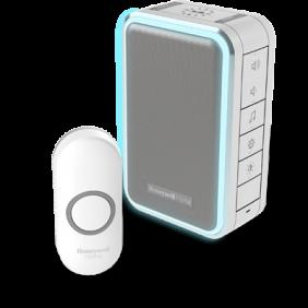 Trådlös portabel dörrklocka med ljusslinga och tryckknapp – Grå