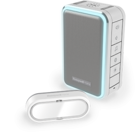 Campainha portátil sem fios com luz de halo e com botão – Cinzento