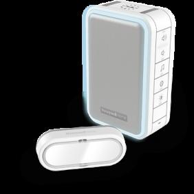 Draadloze draagbare deurbel met halo-licht en drukknop – Wit