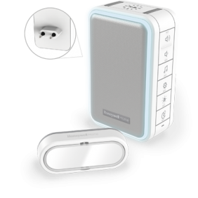 Draadloze plug-in deurbel met halo-licht, USB-opladen en drukknop – Wit