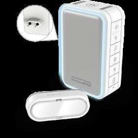 Campainha sem fios com ficha plug-in, luz halo, carregador USB e com botão – Branco