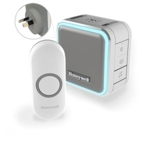 Wireless plug-in doorbell with sleep mode, nightlight and push button – Grey