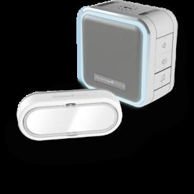 Draadloze draagbare deurbel met halo-licht, slaapstand en drukknop – Grijs